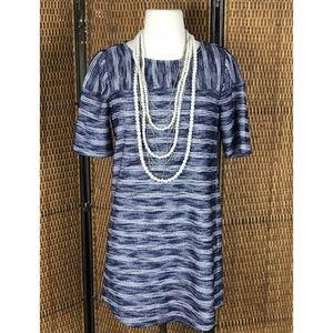 BCBG GENERATION Blue White Short Sleeve Dress Sz S